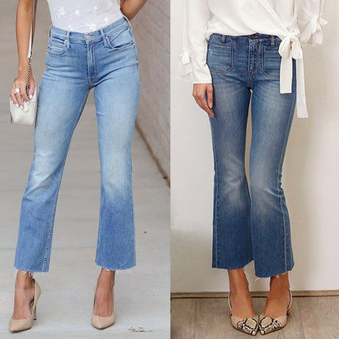 Lady Slim Cropped Flare Jeans Women Spodnie Damskie Streetwear Bell Bottom Denim Ninth Pants