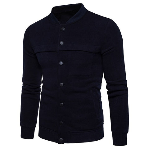 2020 Brand Men's Stand Collar Solid Color Sweatshirts Jackets Youth Cardigan for Male Sweatshirt