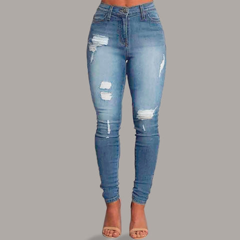 women Skinny Denim jeans woman plus size Pocket Stretch Slim Button Hole Pants