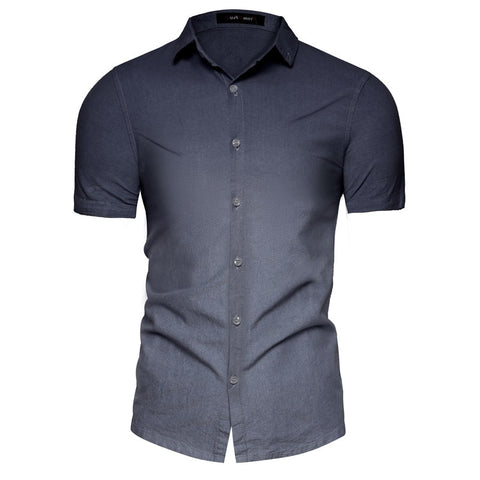 New Top Quality Cotton Shirts Men Patchwork Slim Fit Short Sleeve Male Shirts Casual Turn-down Collar Mens Shirt