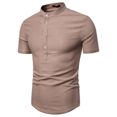 Men Solid Slim Fit Short Sleeve Tops Casual Stand Collar Business Men Polo Shirts