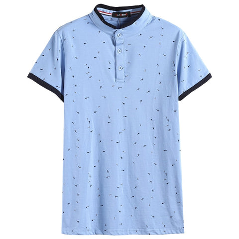 NEGIZBER Brand Fashion Polo Shirt Men Solid Guitar Print Short Sleeve Tops 95 Cotton Stand Collar Sknny Polos Men Streetwear
