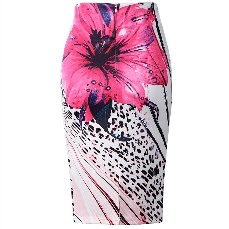 Fashion Flower Floral Leopard Printed High Waist Summer Ladies Knee Length Slim Sexy Pencil Midi Skirts