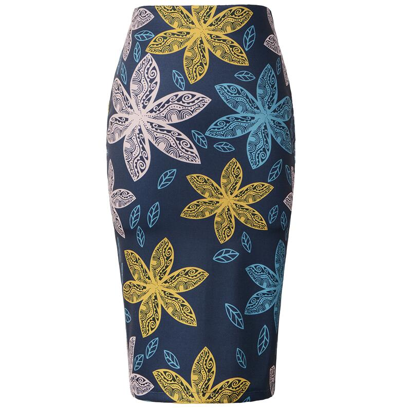 Ladies Office Work Wear Floral Pattern Midi Pencil Skirts High Waist Slim Sexy Skirt