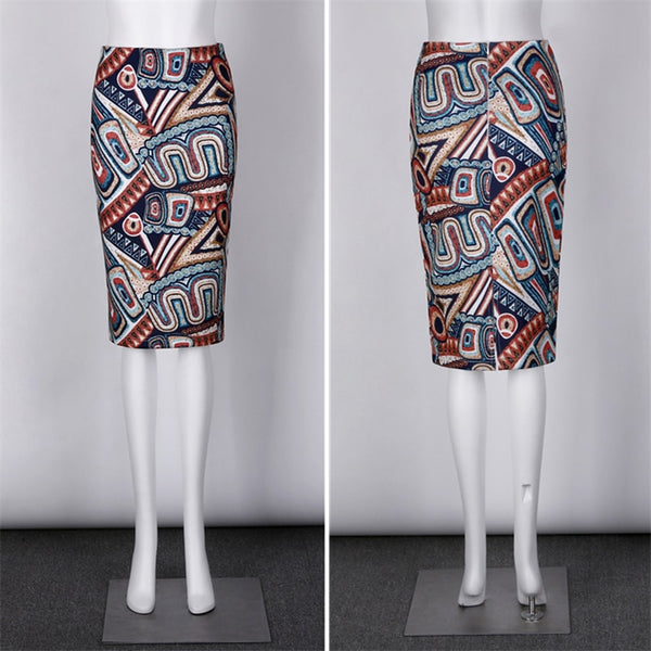 Summer Bohemian Bobo Ethinic Floral Print Midi Pencil Skirts Slim High Waist Bodycon Skirt