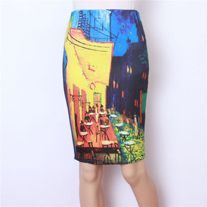 2020 Summer Retro Oil Painting Pattern High Waist Ladies Pencil Midi Skirt