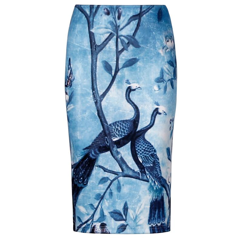 2020 Summer Style Retro Vintage Peacock Animal Print Pencil Skirts