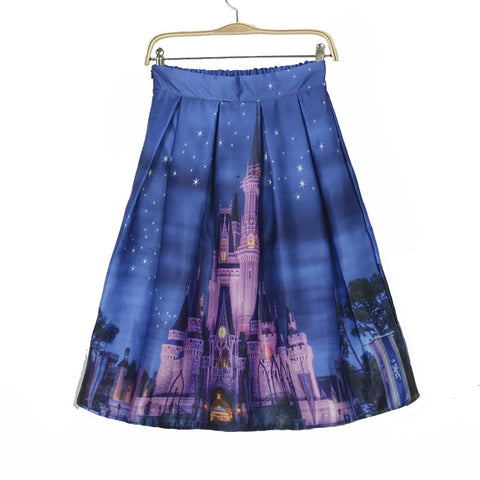 Womens Skirts High Waist  Flared Saias Building Printed Blue Vintage Ball Gown