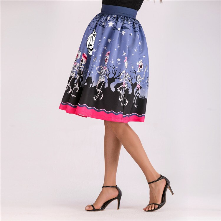 Halloween Printed High Waist Skater Midi Skirts Womens Gothic Female Pattern Pockets Pleated Skirt