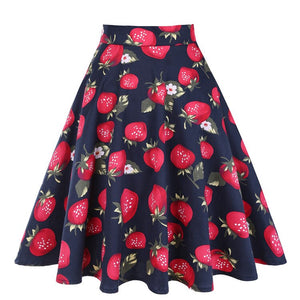 Strawberry Print High Waist Skater Midi Womens Skirts