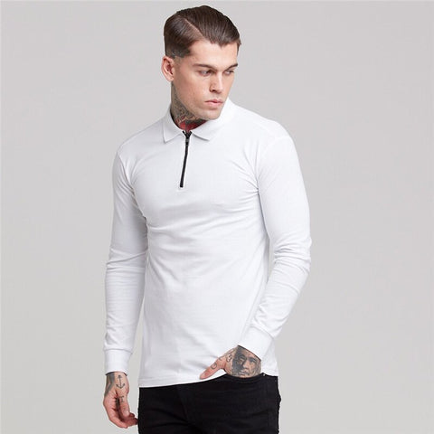 New Fashion Brand Stretch Cotton Polo Shirt Men Solid Color Casual Polo Shirts