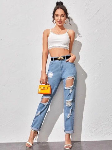 New White and blue ripped jeans For women Fashion High waist loose jeans
