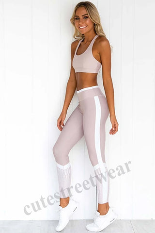 New Slim Print Stitching Yoga Clothing Women's SSports Suit
