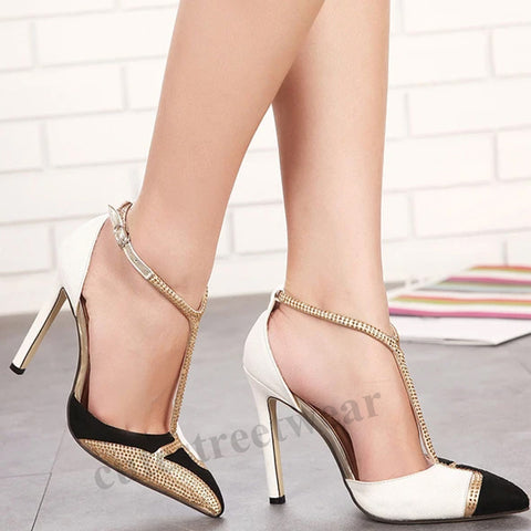 New T-shaped Fashion Rhinestone Women's Pointed Thin Heel high Heel Shoes with Color Matching