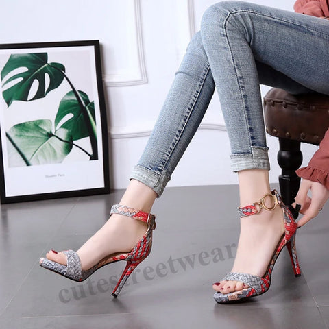 One-Word Buckle Sandals with Open Toes Braided Fine Heeled Women's Shoes