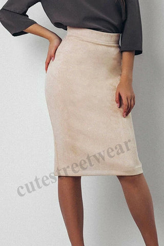 Pencil Mini Skirt Office Ladies Casual Knee Length Skirt