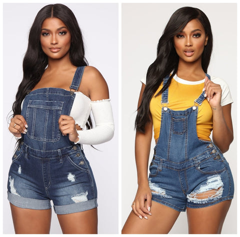 Plus Size Womens Rompers Jumpsuit Denim Short Overalls Skinny Jeans Playsuits