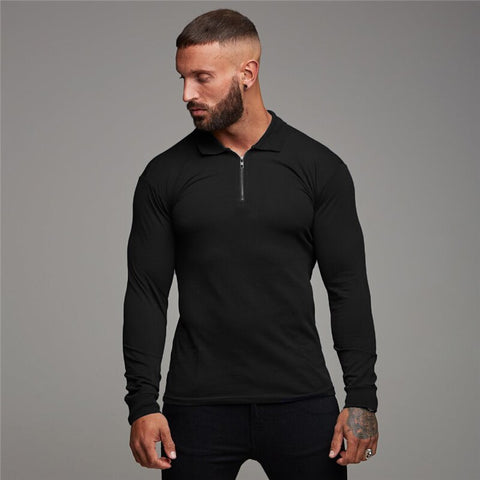 Polo Shirt Mens Long Sleeve Solid Color Polo Shirts Zipper Slim Turn-Down Collar Autumn Gym Poloshirt