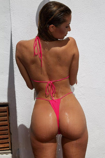 Pink Ribbed Thong Sliding Triangle Bikini