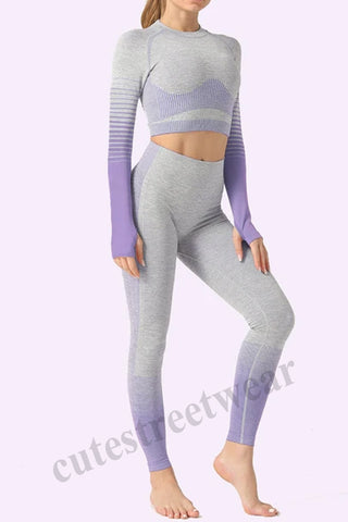 Seamless Yoga Suit Striped New Knit Hip Stretch Fitness Yoga Suit