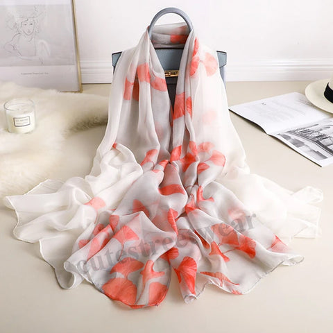 Spring and summer sunscreen outside wearing holiday beach towel silver apricot leaf simulation silk air-conditioning shawl