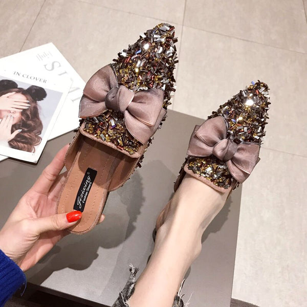 Summer Women Bling Slippers Bow Tie Fashion Women Slippers