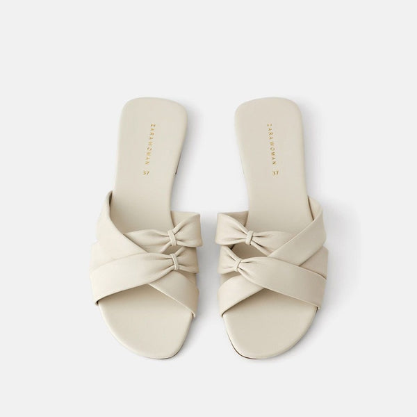 Summer Women  Casual Style Outdoor Slides Women Bow Tie Solid Slippers