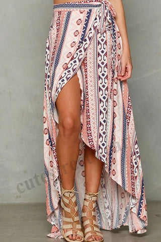 Summer Wrap Skirt Sarong Boho Beachwear Casual Skirt Sundress