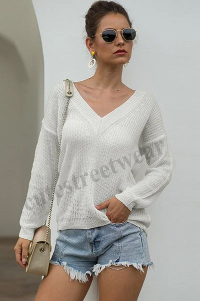 Sweater Sexy Deep V-neck Knitted Bottoming Shirt Women's Light Sweater