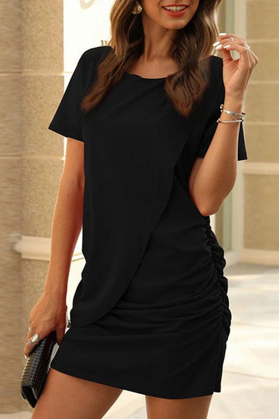 Round Neck Solid Color Short Sleeve Dress