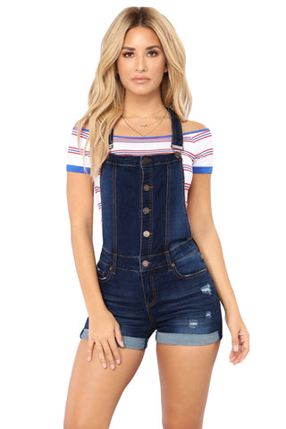 Women Short Denim Playsuit Jumpsuit Ripped Hole Romper  Jeans Overalls