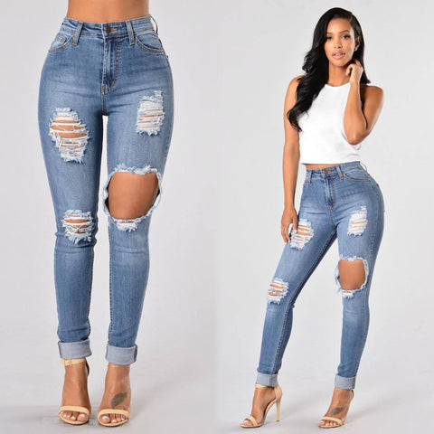 Women's Skinny Hole Ripped Pencil Jeans Boyfriend Beggar Pants Legging Elastic Jeans