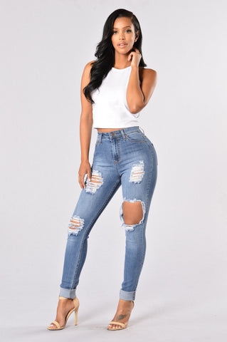 Women's Skinny Hole Ripped Pencil Jeans Boyfriend Beggar Pants