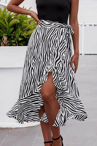 Women Summer High Waist Zebra-Stripe Skirt Fashion Pleated  Wrap Sarong Skirt