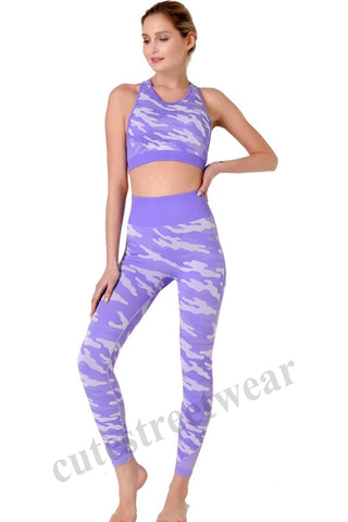 Women's Mesh Panel Camouflage Slim Lifting Hip High Body Yoga Suit
