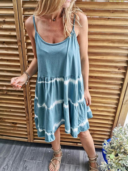 Women Sexy Spaghetti Strap Knee-Length Dye Casual Dress