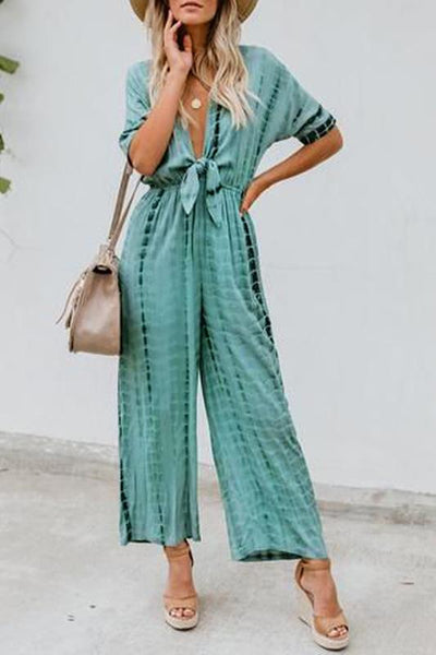 Sexy Deep V Neck Printed Belted Halflong Sleeve Jumpsuit