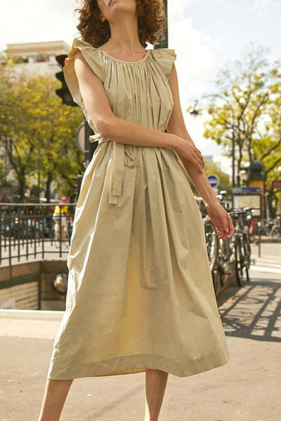 Casual Ruffled Pure Color Belted Dress