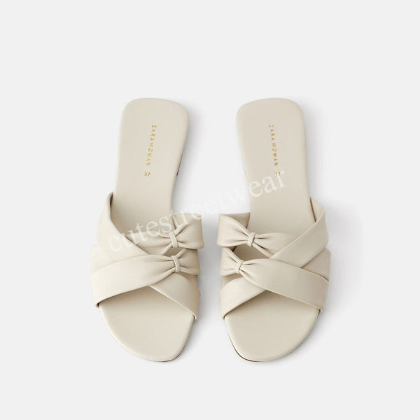 Summer Women Slippers Casual Style Outdoor Slides Women Bow Tie Solid Slippers