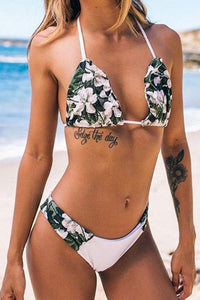 Boho Floral SlideTriangle Halter Bikini - Two Piece Swimsuit