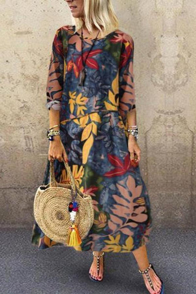 Cotton/Line Short Sleeve O Neck Printed Maxi Dress