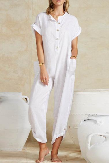 Fashion Pocket Round Neck Button   Jumpsuit