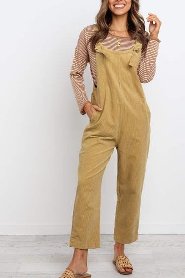 Pure Colour Loose Straight Jumpsuits
