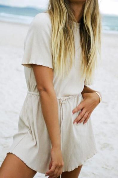 Casual Pure Color Short Sleeve Jumpsuits