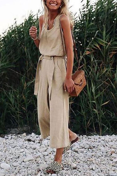 Women Fashion Jumpusits Sleeveless Vintage Color Khaki, STYLISHPOP Chic Jumpsuits