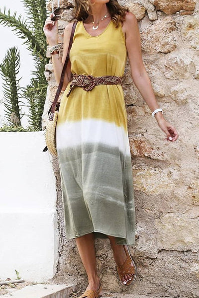 Fashion Sleeveless Stitching Color Casual Casual Maxi Dress