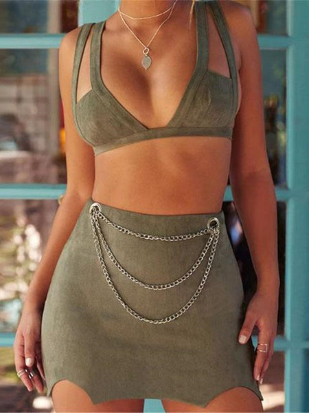 Sexy Plain Bikini Vest Bodycon Skirt Suit
