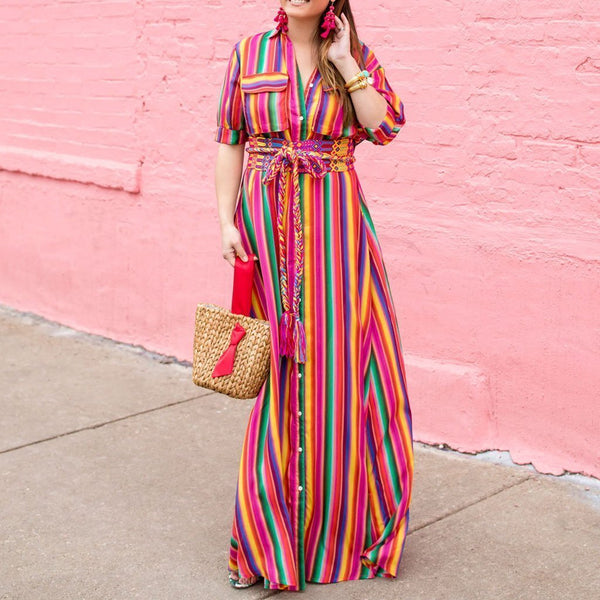 Cutemega BOHO Button Down Collar  Stripes  Roll Up Sleeve Maxi Vacation Dresses