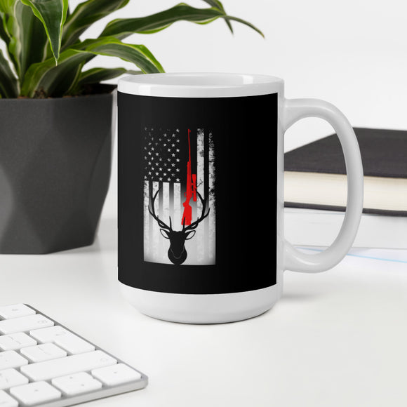 Rifle Hunting American Flag Deer Hunter Mug