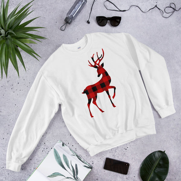 Christmas Reindeer Unisex Sweatshirt With Red & Black Buffalo Plaid Flannel